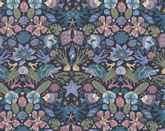 "S/S 2017 -  Liberty Tana Lawn fabric TURTLE THIEF - 17"" wide x 13"" (43cm x 33cm) - blue"