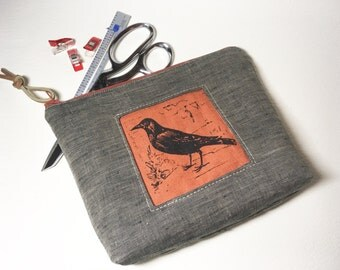 Tweed Tool Bag with Raven Print