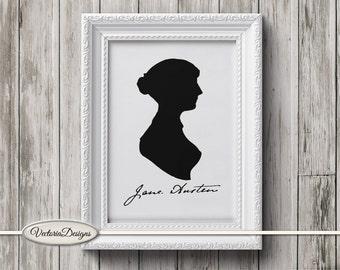 Jane Austen Silhouette print printable art black and white print digital print printable instant download digital collage sheet - VD0310