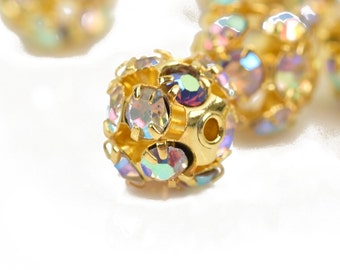 10 pc Gold Plated Crystal Disco Ball Spacer Beads Fireball, 8mm  Aurora Borealis AB Finish, bme0408