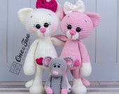 Kissie the Kitty and Skip the Little Mouse Amigurumi - PDF Crochet Pattern - Instant Download - Amigurumi crochet Cuddy Stuff Plush
