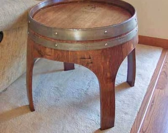 "22"" Solid Oak Wine Barrel End Table with Arch Legs Made By Wine Barrel Creations Inc."