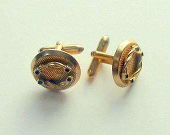 Vintage 1950's Swank Round Goldtone Cufflinks Signed