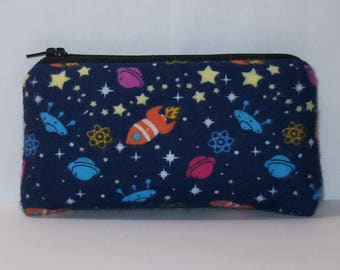 """Pipe Bag, Rockets & Spaceships, Padded Pipe Pouch, Pipe Case, Glass Pipe Cozy, Space Gift, Stoner Gift, Cute Bag, Small Pouch - 5.5"""" SMALL"""