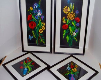 Paint By Numbers Set Of Four Florals Still Life Art Deco Style