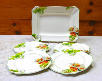 Vintage Art Deco Royal Staffordshire Wilkinson Sandwich Plate and Set of 4 matching Sandwich Plates