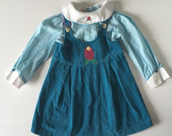 1980's Teal Tulip Dress & Blouse (5)