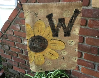 personalized burlap garden flags