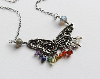 Rainbow Butterfly Necklace in Sterling Silver, Pewter and Semi-Precious Stones. Etain's Flight.