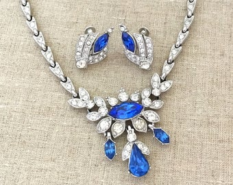 Birthday Gift Girlfriend Necklace Earrings Set - Blue Rhinestone Collar Necklace - Signed ORA Rhinestone Jewelry Set - Womens Necklace Gift