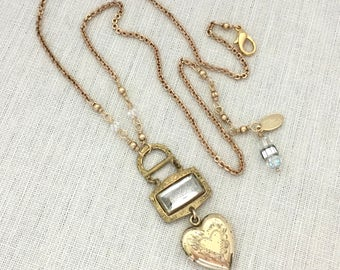 Heart Jewelry Gift for Mom - Heart Locket Pendant Necklace - Women Necklace Summer Necklace - One of a Kind Necklace Gift Idea - Gold Filled