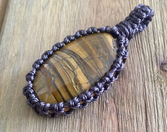 Tigers Eye macrame wrapped cabochon stone pendant macrame jewelry