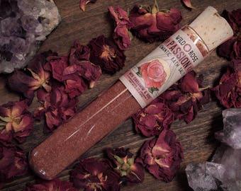Bath Salts PASSION Romantic Himalayan Salt Mandarin + Rose - 2oz Test Tube Gift for Her