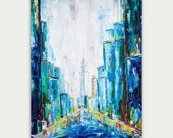 Original Painting, Blue City Skyline, Abstract & Modern Painting, Texture Art On Canvas, Home Decor