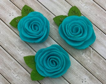 "2"" felt rosette with leaf, AQUA felt rose flower, small felt flowers, DIY headband supplies, petite fabric flowers, wholesale fabric flowers"