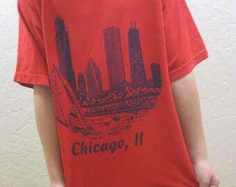 Kids Vintage, Chicago T Shirt, Vintage Tee, Vintage Illinois Shirt, Vintage Kids, Vintage Kids Shirt, Chicago Skyliine, Red Vintage Shirt