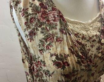Vintage Dress, Vintage Nostalgia, 90s Dress, Grunge Dress, Granny Dress, Sleeveless Sundress, Sleeveless Nostalgia, Boho Dress, Summer Dress