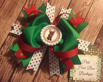 Rudolf Christmas hair bow, holiday hair bow, Christmas hairbow , 5 inch hair bow, hair bows for girls