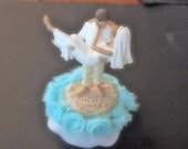 Cake Topper Wedding Aqua Blue Bride and Groom
