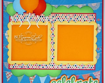 Birthday Celebrate Boy Girl Premade Scrapbook Page 12x12 Layout Paper Piecing Handmade 18