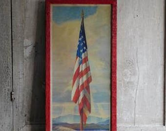 Vintage Framed American Flag, Sentinel of Freedom, Wall Decor Stars and Stripes, Adrian Brewer