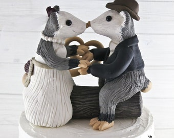 Opossums Wedding Cake Topper Bride and Groom Customized