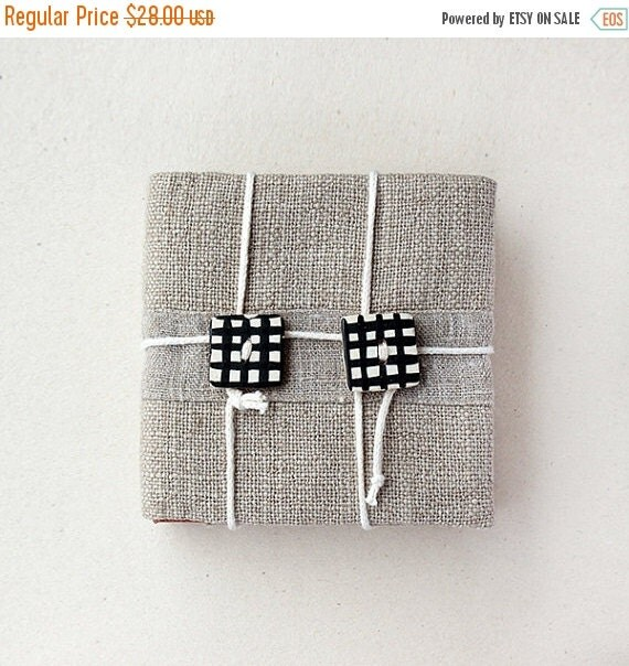 SALE -40% Mini notebook - Fabric covered - Natural materials - Unisex OOAK