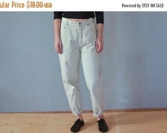 SALE High waisted Beige pants jeans Denim Pants Mom Jeans vtg 80's high rise pants