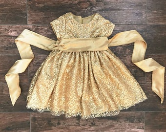 Gold Sequin Toddler Dress
