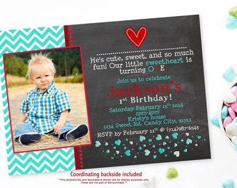 Boys Chevron Chalkboard Valentine's Birthday Invitations - Digital File You Print