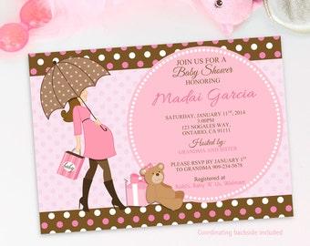 Baby Girl Shower Invitations, Girl Baby Shower Invitations, Teddy Bear Baby Shower Invitations, Baby Shower Invitation Girl Printable