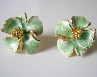Vintage Green Enamel Earrings, Gold Tone Pierced