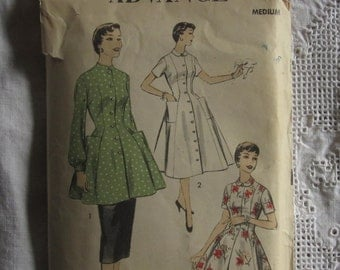Vintage Housedress Apron Pattern M Advance 6881 Dress Tunic Fit & Flare B 32 34
