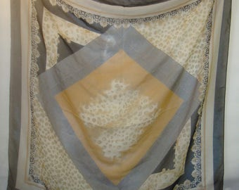 Animal Print Check Sheer Large Square Vintage Tan Black White Fleur de Lis
