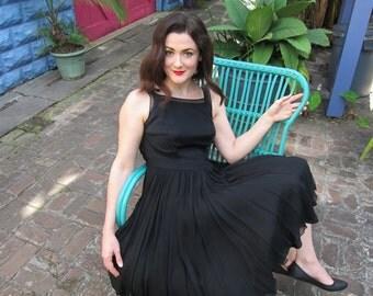 Vintage 1950s Black Silk Chiffon Party Dress