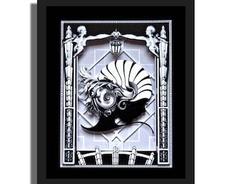 DAISY - Great Gatsby - 3D Illustration Sculpture 8x10x3 shadowbox framed