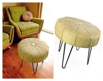 """ottoman, mid century, round, hairpin legs, footstool, seating, textured vinyl, retro, side table, atomic, mid century modern, 18"""""""