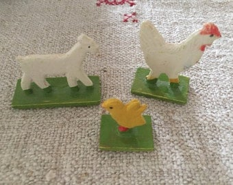German Wood  Erzgebirge Farm Animals - Chicken, Goat & Chic