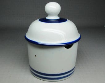 Dansk condiment jar with lid , a slot in the side of the bottom piece for a spoon BLT line or maybe blue mist - ???