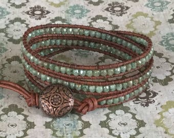 Beaded Leather Wrap Bracelet Green Sage Brown Leather Free Shipping
