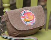 Morning Glory Pouch in Nutmeg linen blend featuring Tula Pink Fox Nap from Chipper line in pink