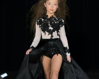 Couture pageant dress, open front skirt and beaded leotard lace dress