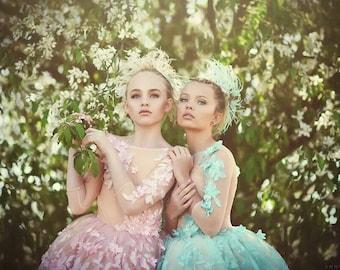 flower girl dress, pink or mint couture flower girl dress