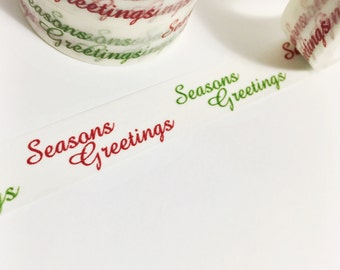 SALE Red and Green Seasons Greetings Script Christmas Green Red Words Washi Tape 11 yards 10 meters 15mm