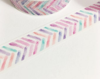Pretty Colorful Herringbone Watercolor Stripes Purple Pink Coral Aqua Washi Tape 11 yards 10 meters