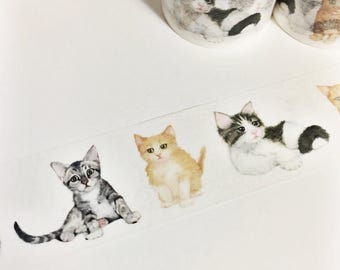 Gorgeous Watercolor Painted Kittens Animal Cat Washi Tape 5.5 yards 5 meters 30mm