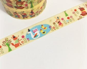 Yellow Washi with Party Animals Trees Lake Pond Outside Animals Party Hats Celebration Washi Tape 11 yards 10 meters 15mm width