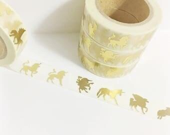 Bright Shiny Metallic Gold Foil Unicorns Pegasus Mystical Creatures Winged Unicorn Pegacorn Washi Tape 11 yards 10 meters 15mm