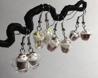 coffee mugs and beer glasses earrings kawaii 80's kitchy toy earrings