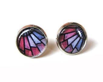 Graphic pattern earrings, Mosaic earrings aesthetic jewelry, Stud earrings, Lightweight earrings, Circle earrings